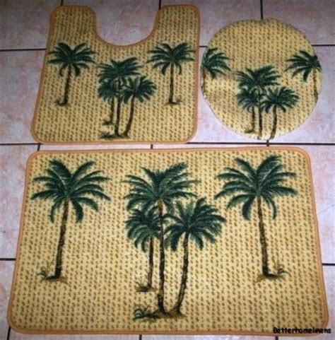 Palm Tree Bathroom Rugs 3 Tropicl Palm Bathroom Set Bath Contour Rug Toilet Lid Cover Mat Carpet Ebay