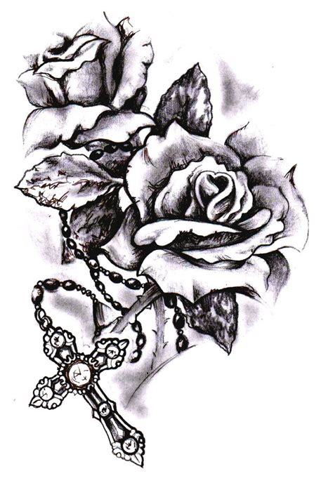 cross and rose tattoo cross sketch by simonvalentine on deviantart