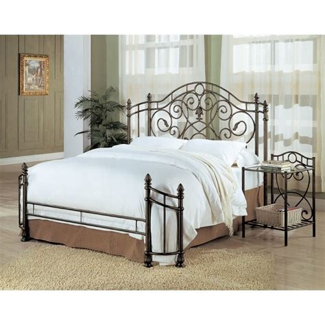coaster violet iron king bed in antique green 300161ke