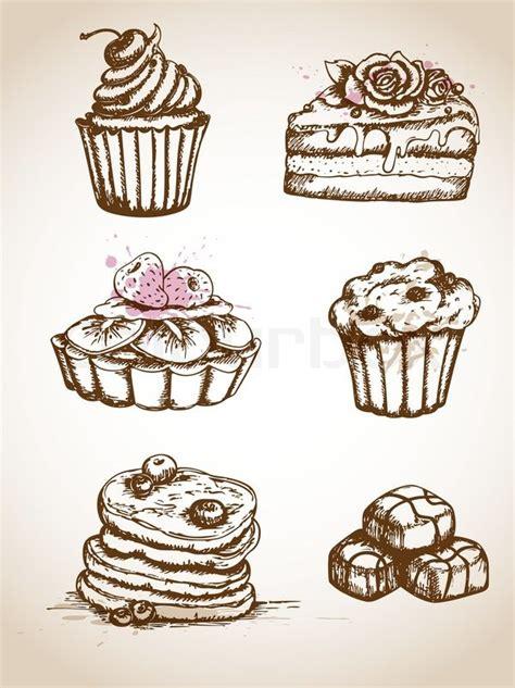kuchen zeichnung vintage gezeichnet kuchen vektorgrafik colourbox
