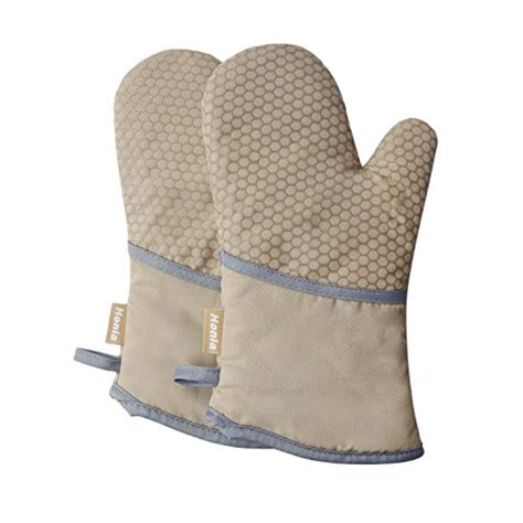 cook bake pan holder khaki honla kitchen honeycomb silicone cooking gloves heat