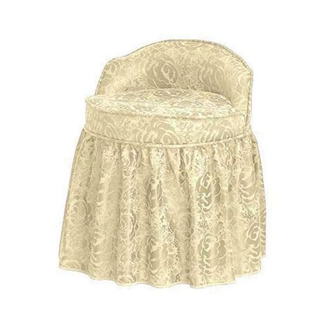 Vanity Stool With Skirt | home decorators collection delmar swivel lowback ivory vanity stool with skirt 5544540120 the