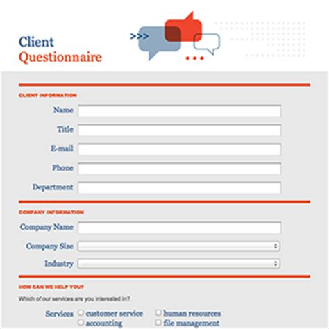 new customer questionnaire template formcentral template exchange client questionnaire