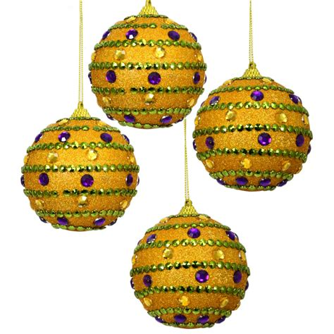 mardi gras jeweled ball ornaments set of 4 36202pgg