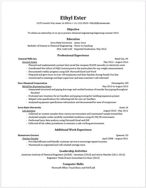 resume sles for engineering students exle resumes engineering career services iowa state