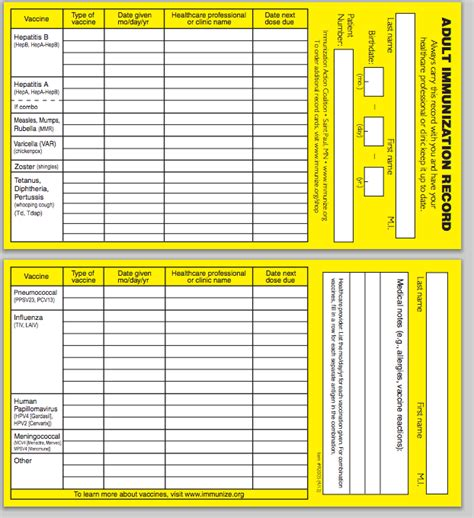 Immunization Card Template by Immunization Record Form Pdf Gallery