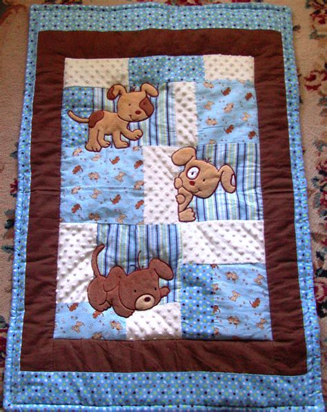 How To Make A Patchwork Baby Blanket - puppy baby quilt minky flannel blanket patchwork flannel