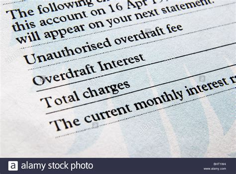 bank overdraft bank statement showing unauthorised overdraft fee and