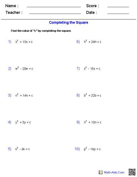 printables of disguised quadratic equations worksheet