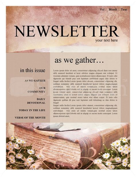 Beautiful Free Church Revival Flyer Template #3: Scripture-Church-Newsletter.jpg
