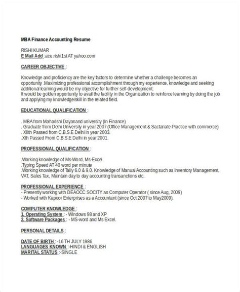 Mba Financial Accounting Pdf by 40 Basic Finance Resume Templates Pdf Doc Free