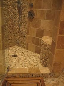 Island stone pebble bathroom design rustic wall and