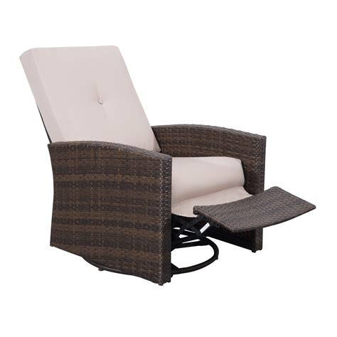 Outdoor Patio Recliner Chairs Outsunny Rattan Wicker Swivel Rocking Outdoor Recliner Lounge Chair