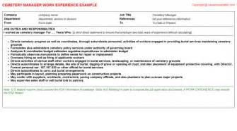 Cemetery Manager Cover Letter by Continuous Improvement Manager Cv Work Experience