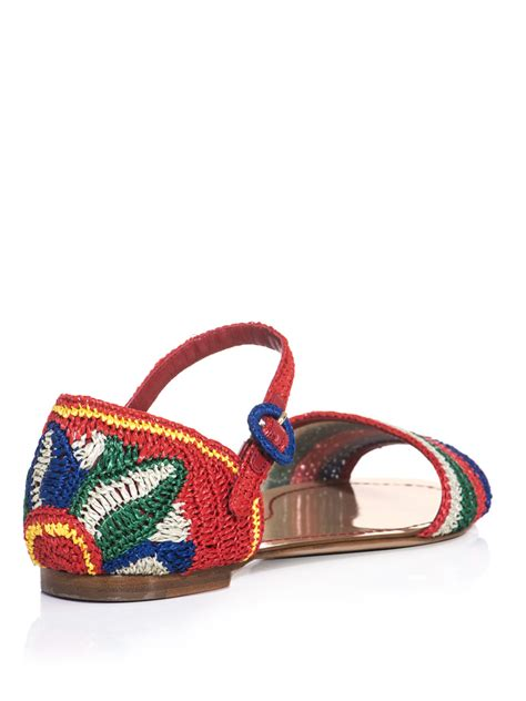 raffia sandals dolce gabbana raffia stripe and flower sandals for