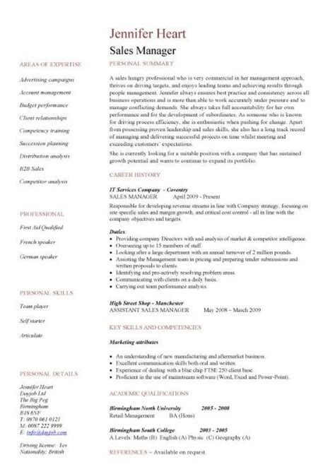 sle of management resume resume sles for sales manager sle resumes