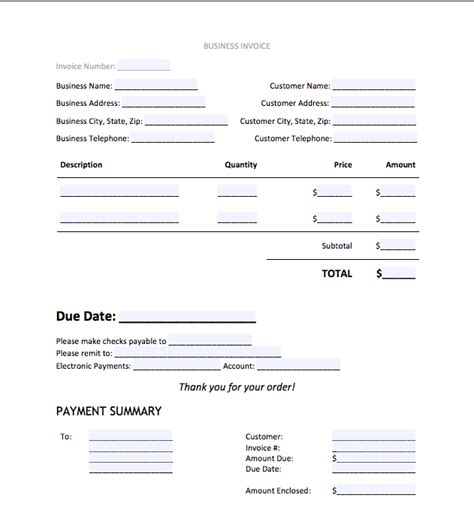 free templates for business invoices free business invoice template fiveoutsiders com