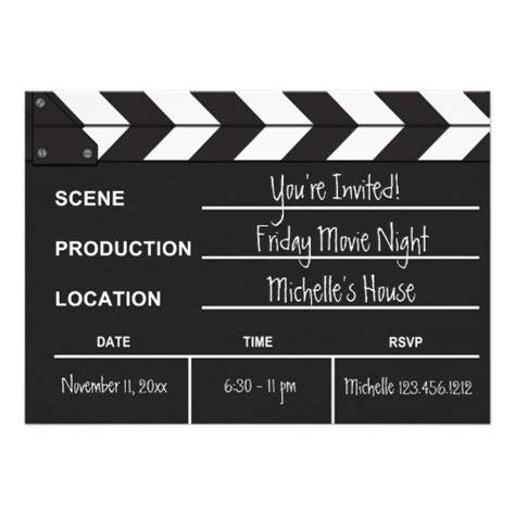 Movie Night Clapboard Invitation 5 Quot X 7 Quot Invitation Card Clapboard Template