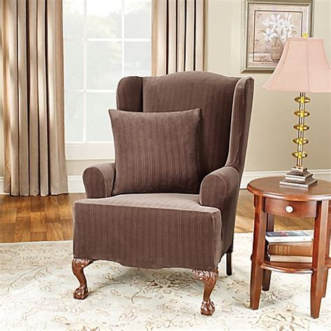 stretch wingback sofa slipcover sure fit 174 stretch pinstripe wingback chair slipcover bed