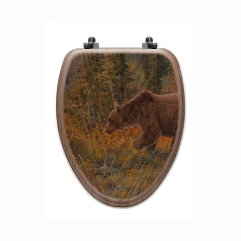 oak toilet seat the grizzly walk elongated closed front wood toilet seat