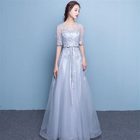 Formal Korea Dress Gray 1 lakd244 new 2017 fashion gown dress banquet toast dresses gray evening