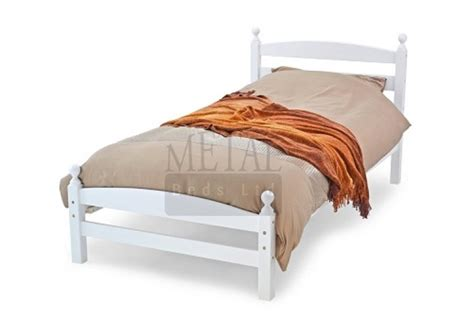White Single Wooden Bed Frame Metal Beds Moderna 3ft 90cm Single White Wooden Bed Frame By Metal Beds Ltd