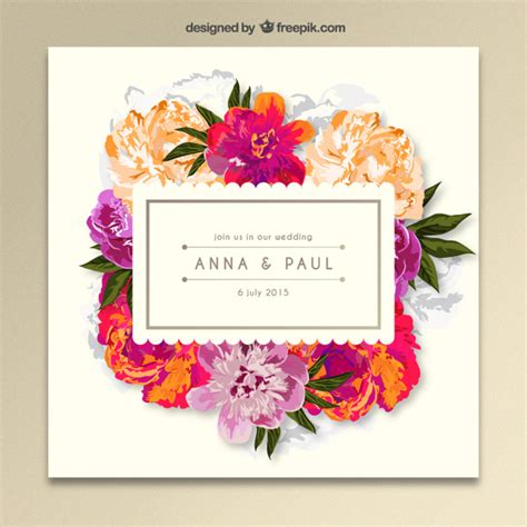 flower invitations templates free floral wedding invitation vector free