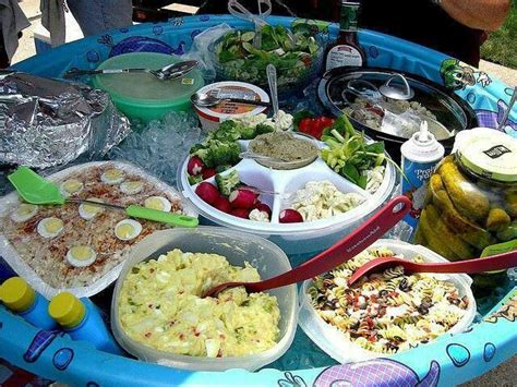 backyard party food ideas use a kiddie pool filled with ice to keep food and