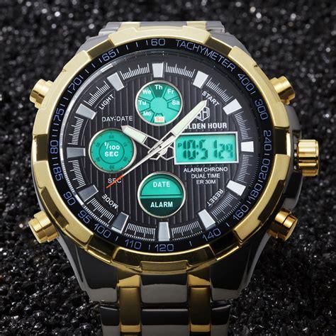 luxury brand analog digital watches led steel