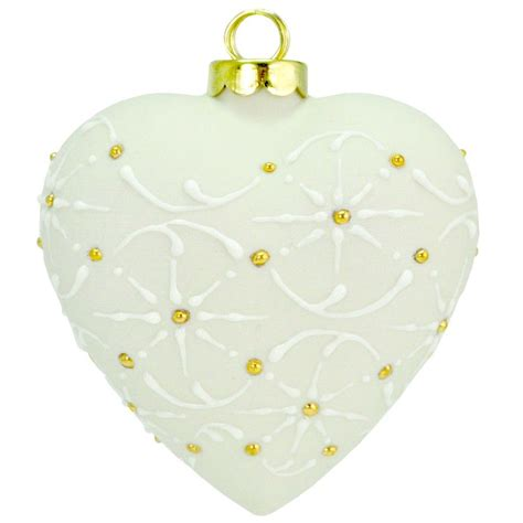porcelain heart shaped christmas ornament