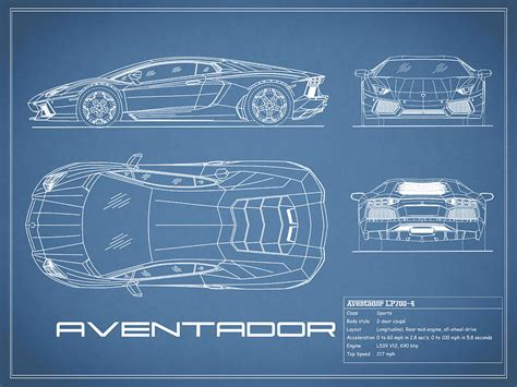 Lamborghini Aventador Blueprint The Aventador Blueprint Photograph By Rogan