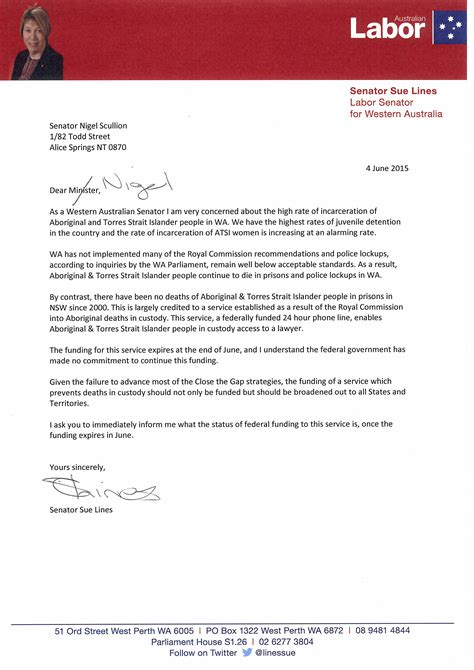 Closing Line Letter Of Recommendation Sue Lines Letter To Senator Nigel Scullion Closing The Gap