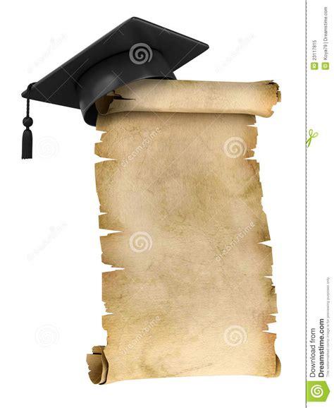 pergaminos para grado casquillo de la graduaci 243 n en la tapa del pergamino viejo