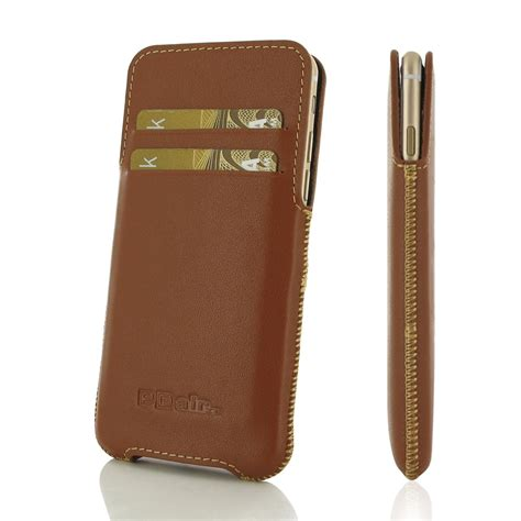 iphone 6 iphone 6s leather pocket pouch brown pdair sleeve