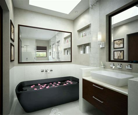 beautiful black bathtub  large wall mirror design