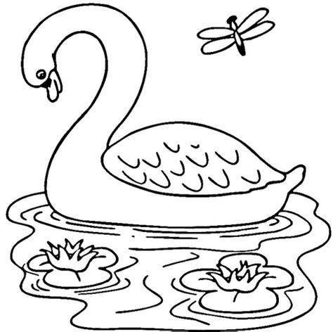 coloring pages de patito dibujo de cisne en el lago para colorear dibujos para