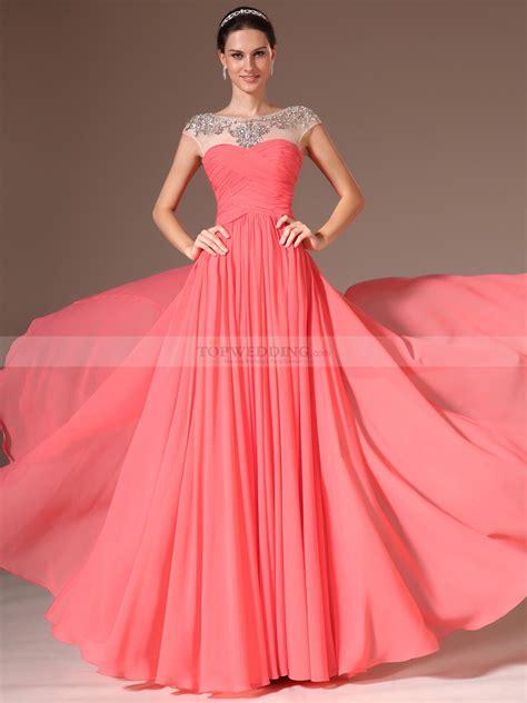 prom dress zoela rhinestoned sheer neckline chiffon a line prom dress