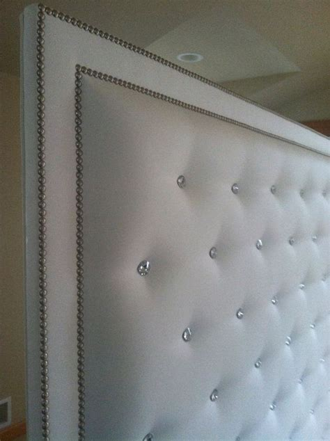 white faux leather crystal button tufted headboard