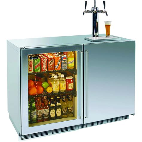 Home Bar Fridge With Glass Door Perlick 12 0 Cu Ft Outdoor Refrigerator Tap Kegerator Glass Left Door Stainless
