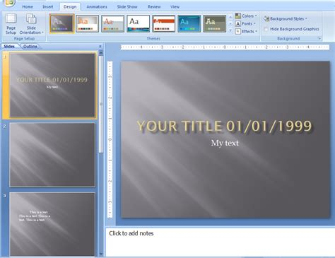 applying themes in powerpoint 2007 view and apply a theme theme 171 editing format