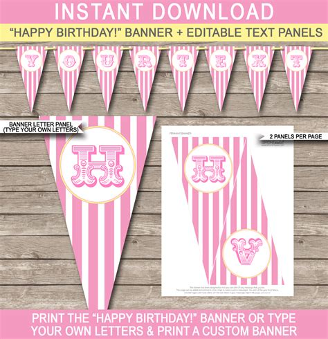 Carnival Banner Template Circus Pink And Yellow Editable Bunting Diy Birthday Banner Template