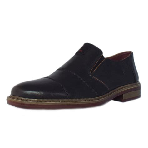 black leather slip on shoes rieker shoes cavalery mens slip on shoes in black
