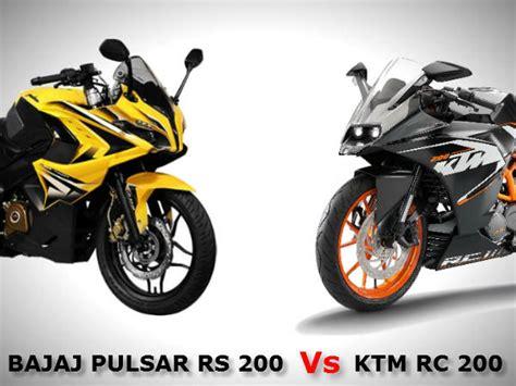 Bajaj Ktm 200 Bajaj Pulsar Rs 200 Vs Ktm Rc 200 Baby Sport Bike Comparo