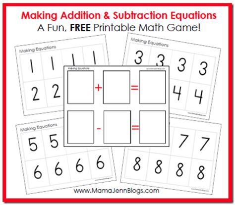 printable addition games educational freebie printable addition subtraction