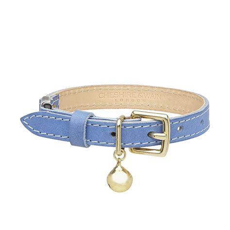 Blues Collar luxury blue leather cat collar chelsea cats