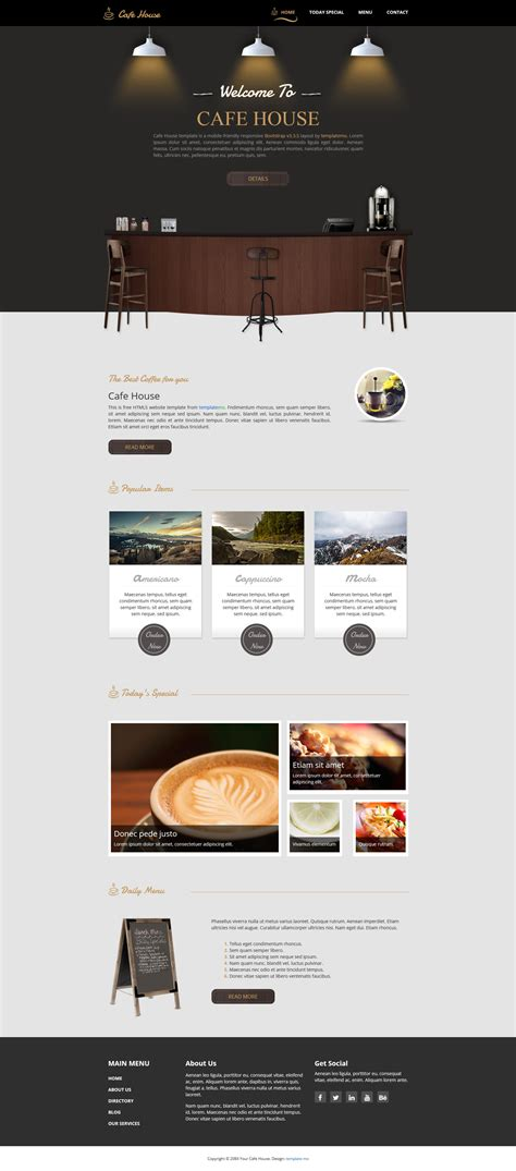 bootstrap v3 themes template 466 cafe house