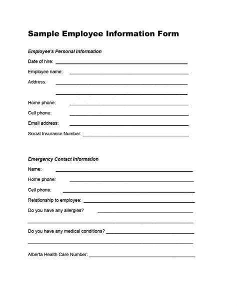 47 Printable Employee Information Forms Personnel Information Sheets Personnel Form Template