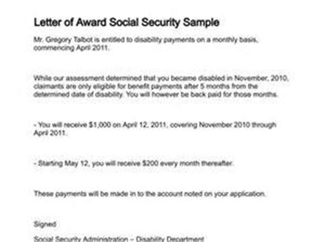Award Letter Copy Social Security Award Letter Sle Letter Of Recommendation