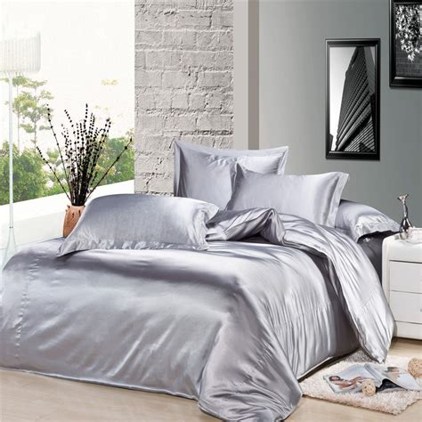 luxury silver gray silk satin comforter duvet covers