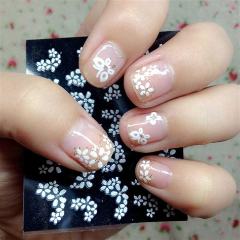 Manicure Stickers by 30 Sheets Floral Design 3d White Nail Stickers Decals